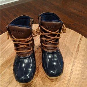 Little Kids Sperry saltwater duck boots, size 12